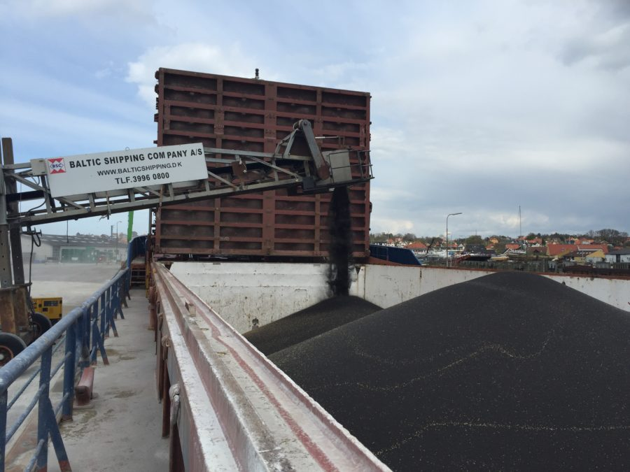 Loading rapeseeds in port of Hundested